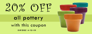 Save 20% on Pottery