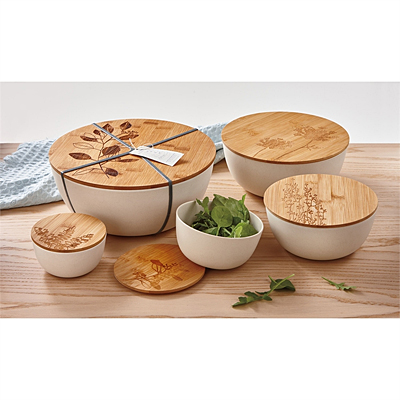 Bowl - Bamboo Fiber with Lid - Natural