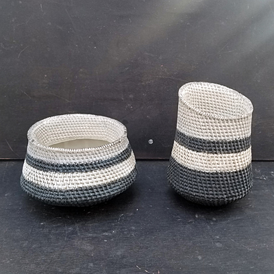 Resin Basketweave Planter - Black Stripe
