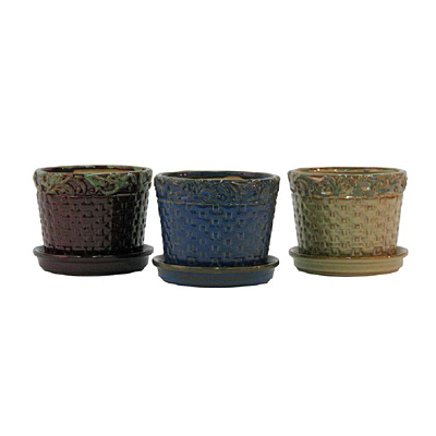 Basketweave Pot with Attached Saucer - Assorted