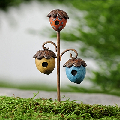 Mini World Woodland Acorn Birdhouse Stake