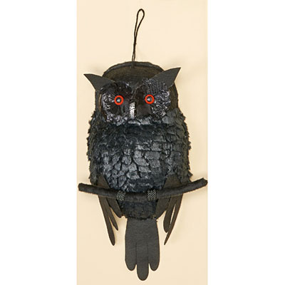Black Owl with Lighted Eyes