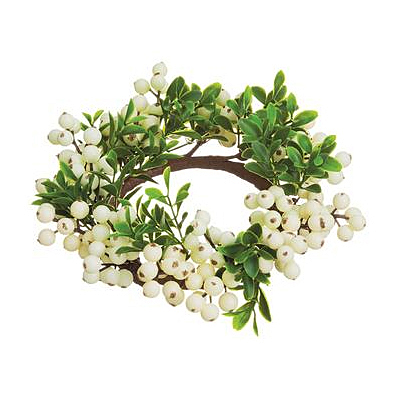 Candle Ring - Berry & Boxwood White/green