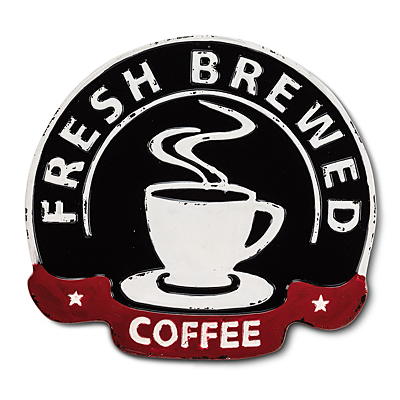 Sign - Fresh Brewed Coffee Enamel
