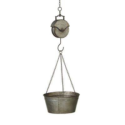 Hanging Galvanized Planter Bucket on Pulley
