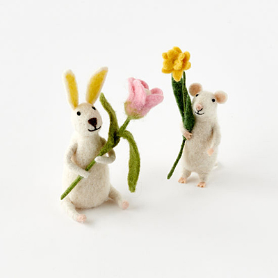 Bunny & Mouse with Flowers - Wool Assorted