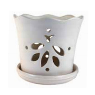 Orchid Pot - Butterfly with Saucer - Matte White