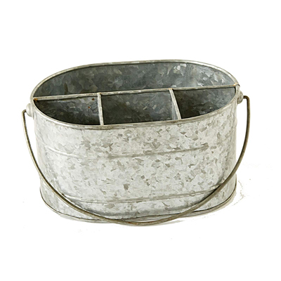 Galvanized Metal Caddy with Compartments