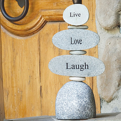 Rock Cairn - Engraved Live Love Laugh