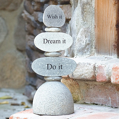 Rock Cairn - Engraved Wish Dream Do