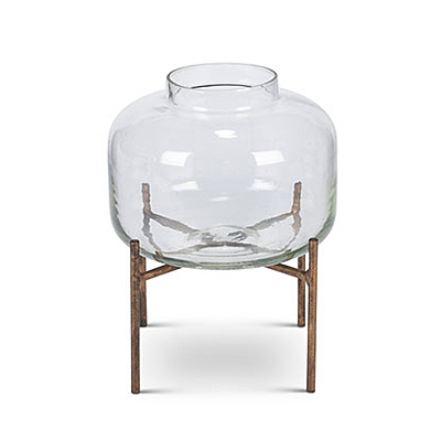 Candle Holder - Glass with Metal Stand