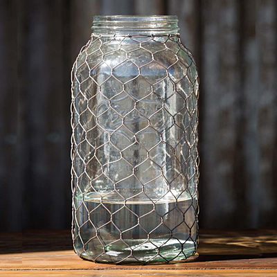 Canning Jar with Poultry Wire Extra Large
