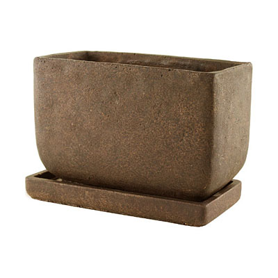 Planter Cement - Brown with Tray