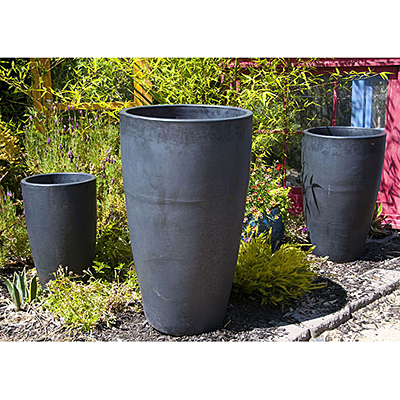 XLG Tall Cone Planter - Silver Black