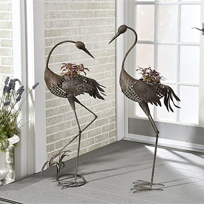 Metal Crane Bird Planter