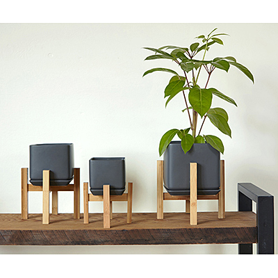 Cube Planter with Saucer - Matte Cool Grey