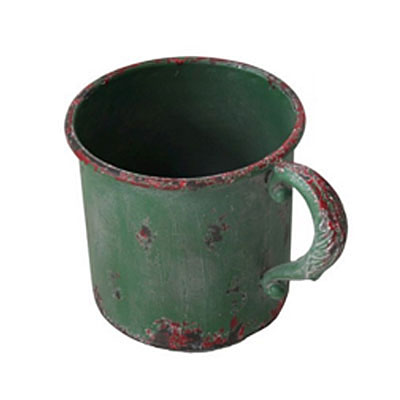 Antiqued Iron Cup Planter - Green