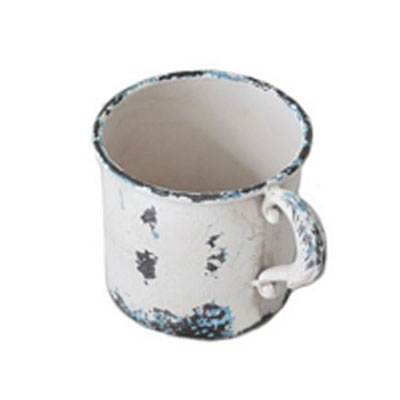 Antiqued Iron Cup Planter - White