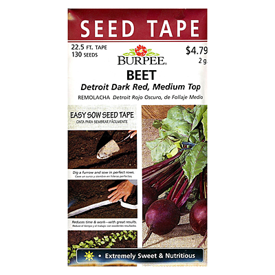 Seeds - Beet 'Detroit Dark Red' Seed Tape