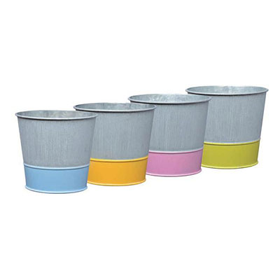 Dipped Tin Planter with Liner - Assorted