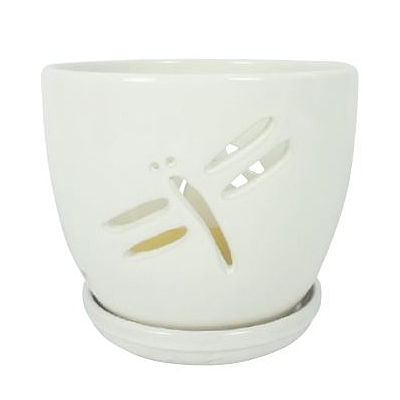 Orchid Pot - Dragonfly with Attached Saucer (Assorted)