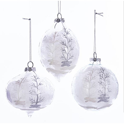 Ornament - Glass White Feather Ball