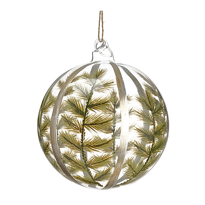 Ornament - Green Fern Glass Ball Clear