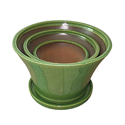Flare Planter with Saucer - Lime Green