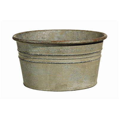 Antique Galvanized Tin Planter