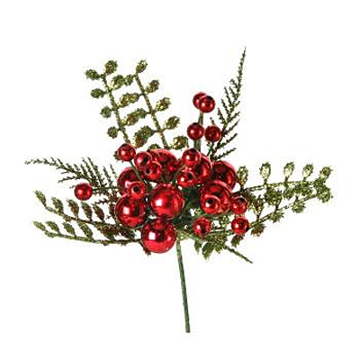 Pick - VP Ball Glitter Berries, Fern Leaf