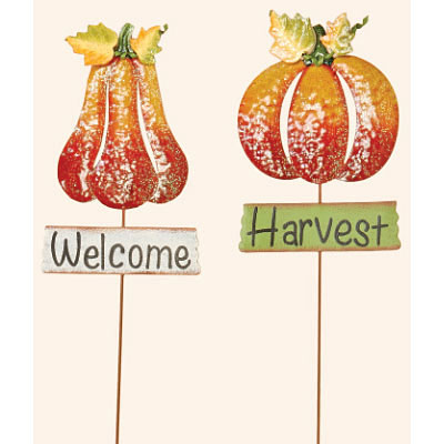 Metal Gourd/Pumpkin Welcome Stake