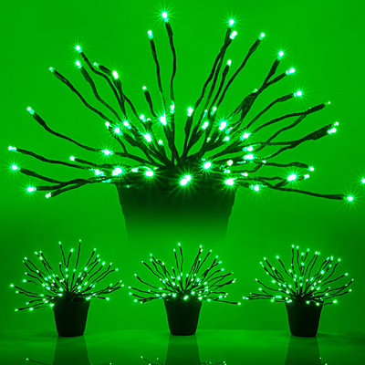 Starburst Lighted Branches Green - Set of 3