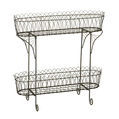 Plant Stand - Grey Arch Wire Two Tier