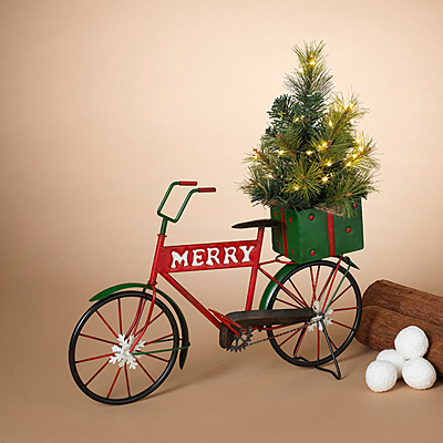 Holiday Metal Bicycle with Lighted Tree B/O