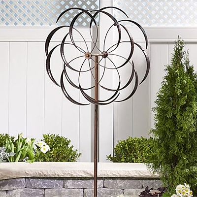 Garden Stake - Sculpted Iron Flower Design Spinner