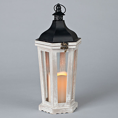 Lantern - Wood Metal Roof with Candle & Timer - White