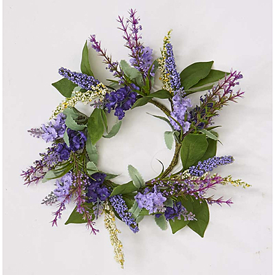 Lavender Candle Ring with Leaves