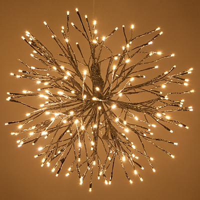 Starburst Lighted Branches Silver/WW Twinkle