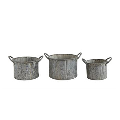 Metal Bucket with Wood Grain Texture