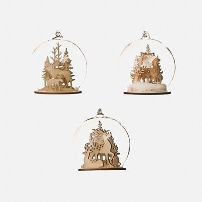 Ornament - Deer/Moose Dome, Glass & Wood
