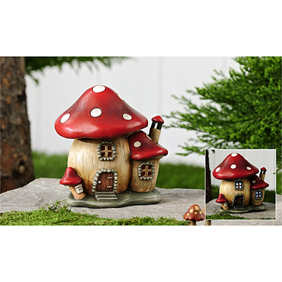 Mini World Garden Lighted Mushroom House