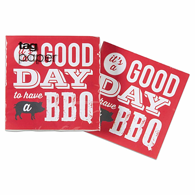 Cocktail Napkin - Good Day BBQ, Red