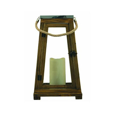 Lantern - Newport Wood/Steel with Candle