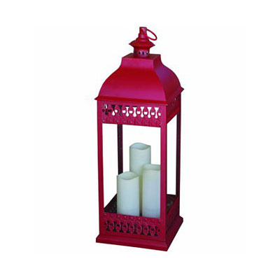 Lantern - San Nicola Tri-Pillar Antique Red
