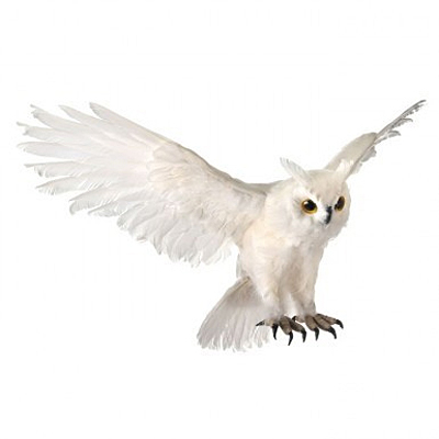 Flying Feather White Owl - White Frosted