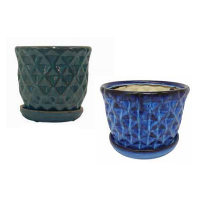 Pineapple Pot with Attached Saucer - Green/Blue