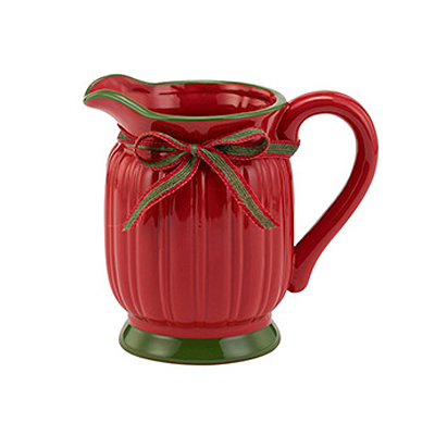Planter - Red Ribbed with Bow