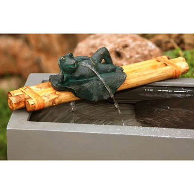 Bamboo Water Spout & Pump Kit Frog Figurine