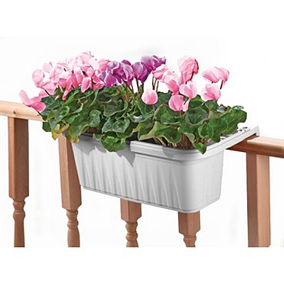 Deck Rail Planter - Adjustable White