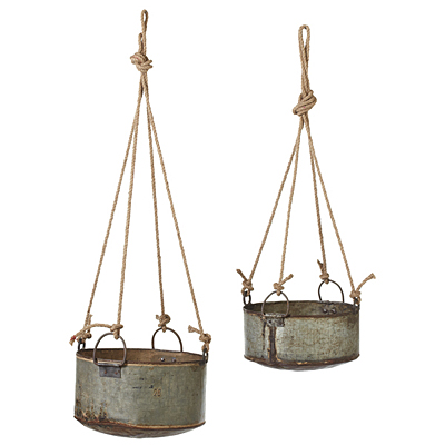 Planter Reclaimed Pot with Rope Hanger